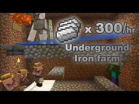 Minecraft Underground Iron Farm Small Easy And Cheap Design For 1 14 3 1 16 2 Java Edition Y Minecraft Underground Minecraft Farm Minecraft Projects