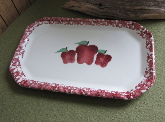 Apple Pattern Platter Handmade Square Apple by LazyYVintage. http://www.etsy.com/shop/LazyYVintage