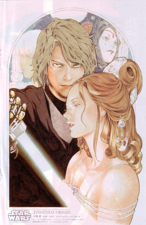 "naps on Twitter: ""That one time Obata (Death Note artist) drew Anakin and Padme… """