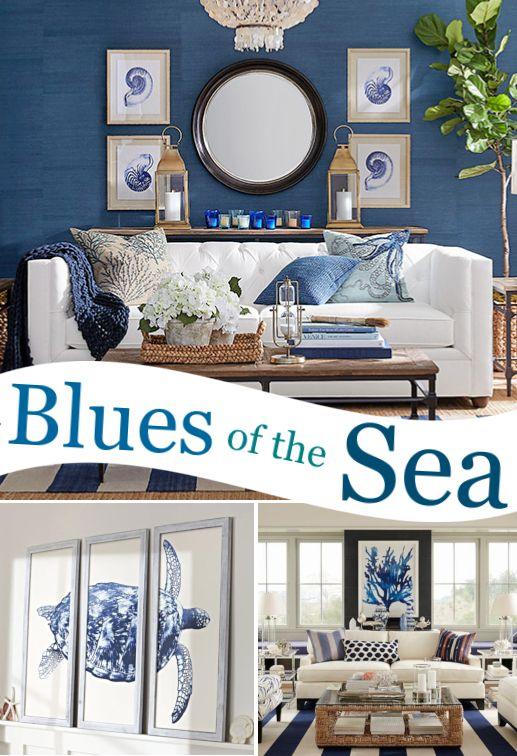 Blue Coastal Sea Life Wall Art Decor Ideas With Images Coastal