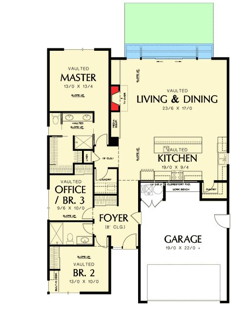 Plan 69547AM One Story Contemporary For A Small Lot Full bath