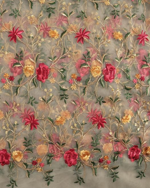 Where To Buy Embroidery Fabric : where, embroidery, fabric, Beige, Floral, Embroidery, Fabric, Fabriclore.com, Fabric,, Online