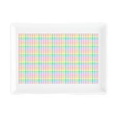 Pastel Checkerboard Rectangular Cocktail Plate