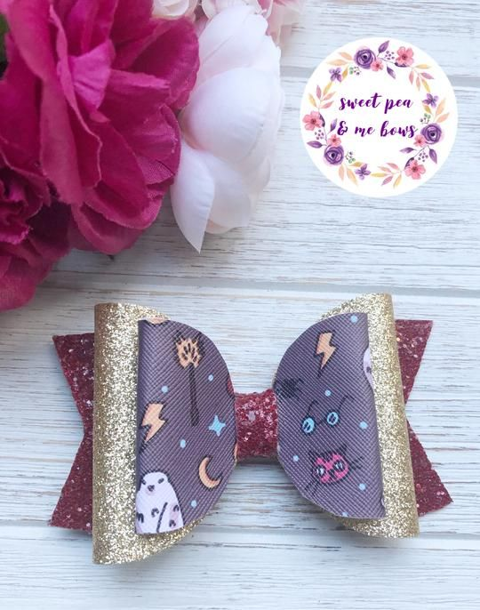 Faux leather pink and blue floral hair bow
