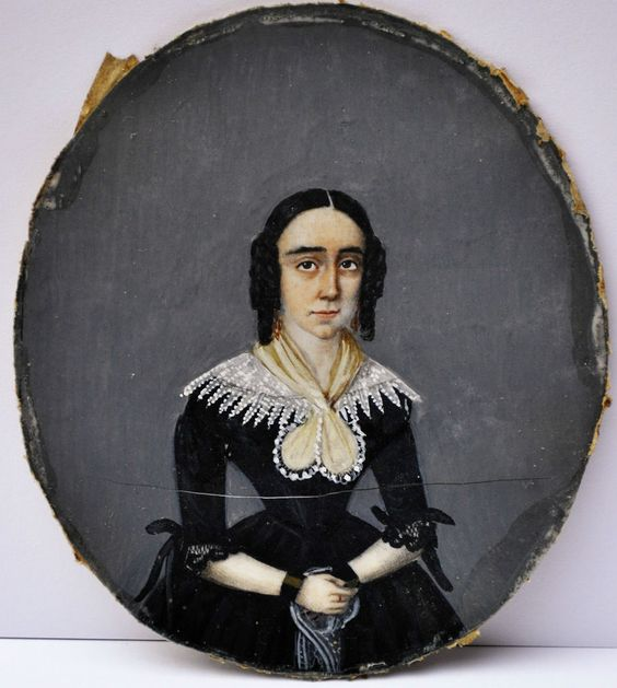 Details zu Miniatur Portrait Biedermeier Dame um 1820/40