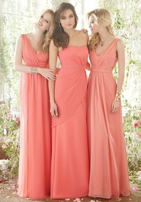 Coral bridesmaid dresses: