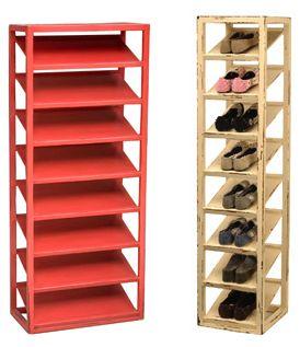 two vertical shoe racks