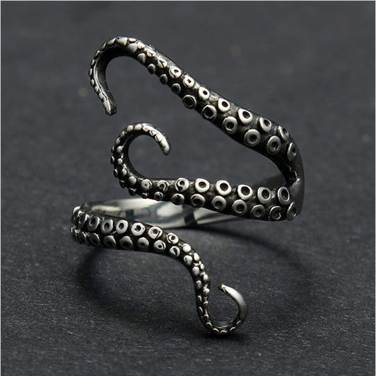 Octopus Ring - Sterling Silver - Adjustable