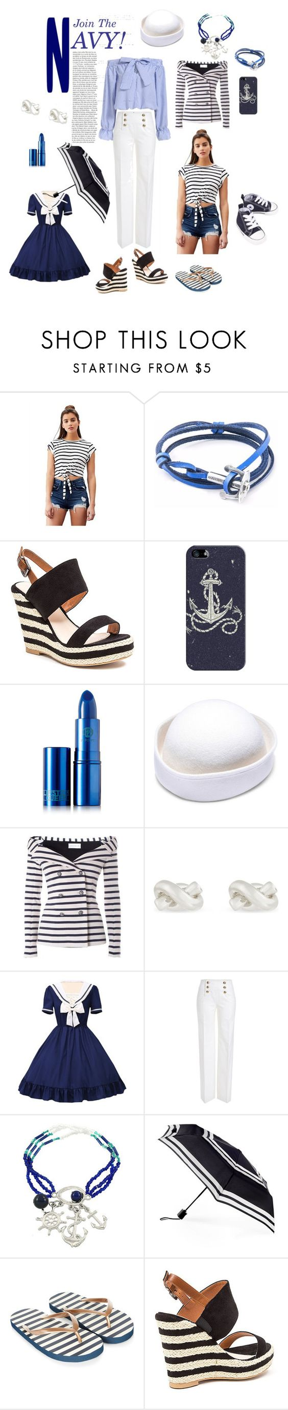 """Join the Navy!"" by jaymagic ❤ liked on Polyvore featuring Lovers + Friends, Anchor & Crew, bleu, French Blu, Casetify, Lipstick Queen, Faith Connexion, Kate Spade, Emilio Pucci and ShedRain"