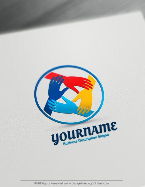Free Online Hands Logo Maker Synergy Logo Design Template
