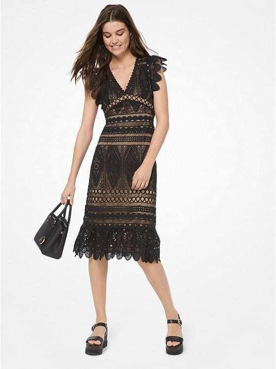 Michael Kors Medallion Lace Dress In Black Today S Fashion Item Social Dresses Cruise Dress Lace Dress Black,Womens Wedding Guest Dresses Fall