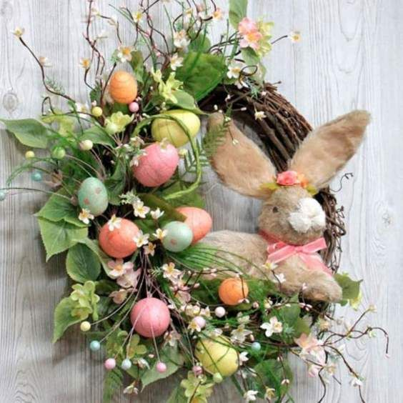 60 Spring Easter Decorating Ideas For Home Coz Spring Has Sprung We Can T Contain The Excitement Hike N Dip Easter Spring Wreath Easter Bunny Wreath Spring Easter Decor