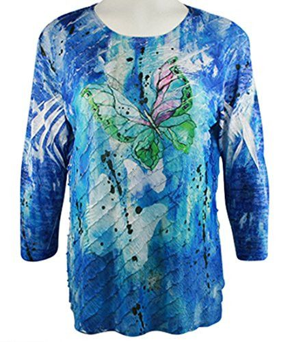 Jess & Jane - Royal Butterfly, 3/4 Sleeve Scoop Neck Ruffled Sublimation Top