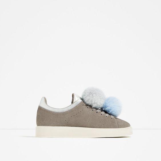 Imagen 2 de deportivo piel pompones de zara moda - Pompones para zapatillas ...
