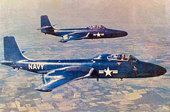 Mcdonnell F2h Banshees Us Navy 1950s Us Military Aircraft Us Navy Aircraft Vintage Aircraft