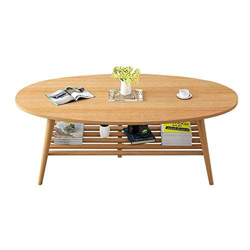 Xiaoyan Nordic Solid Wood Coffee Table With 2 Tier Shelves Small