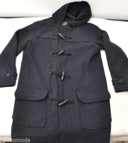 Mens Gap Wool Navy Trench Coat Peacoat Toggle Warm Winter Coat w