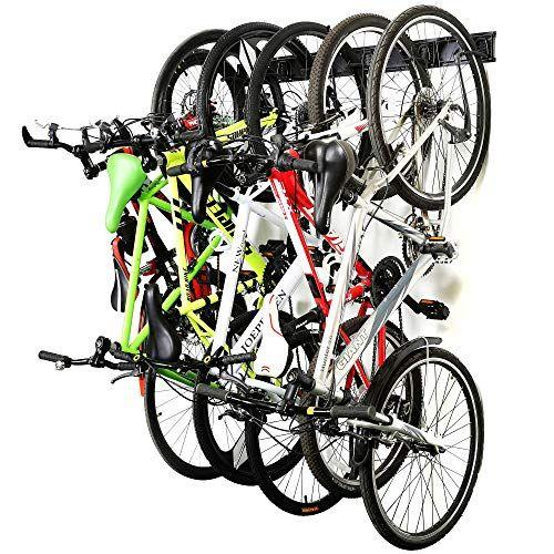 Bike Storage Rack Holds 6 Adjustable Hanger Wall Mount for Home /& Garage