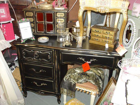 black antique painted desk furniture #antiquefurniture #desk #homedecor http://www.camillesantiqueboutique.com/antiques.html