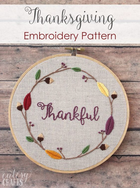 Thankful Thanksgiving Hand Embroidery Pattern Embroidery