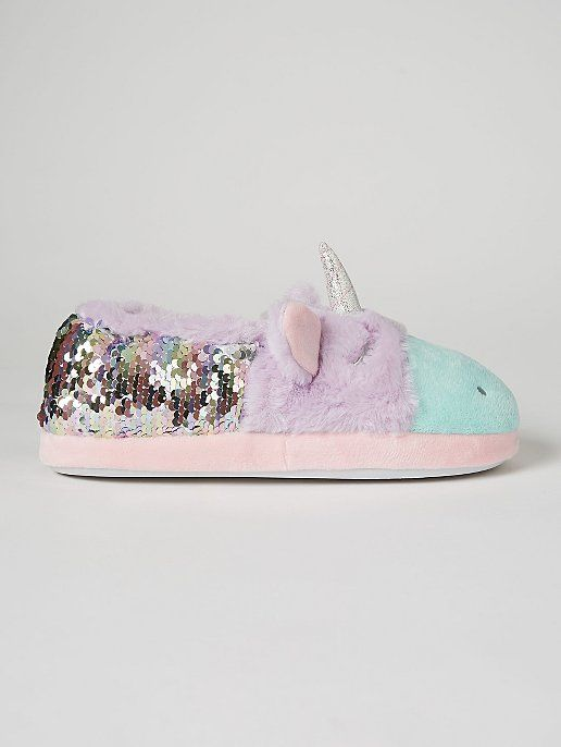 Lilac Sequin Unicorn Fullback Slippers