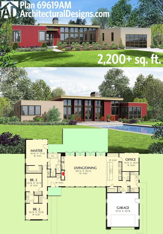 Architectural Designs Modern House Plan 69619AM gives you over 2,200 square feet of living on one level and a light-filled open concept interior. Ready when you are. Where do YOU want to build?