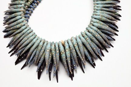 Necklace |  Ford & Forlano, polymer, sterling silver. Caption from the original pinner ascribes this work to Ford & Forlano but it looks like a Cynthia Toops or Judy Dunn piece.