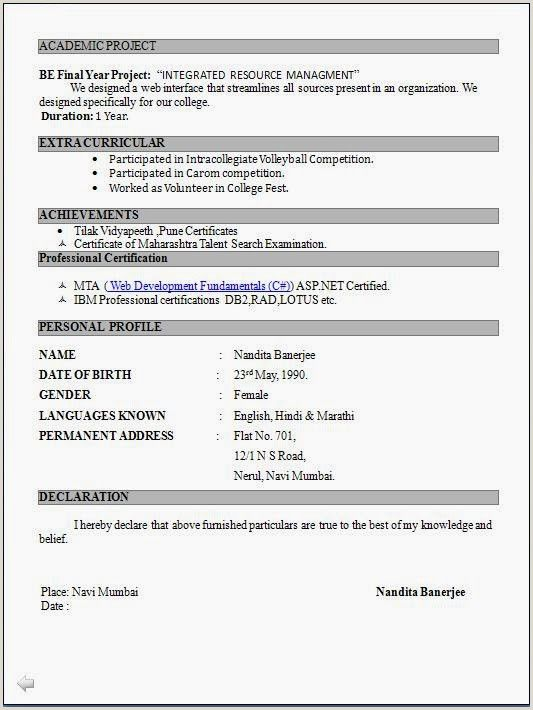 Fresher Teacher Cv Format Pdf Resume Format For Freshers Latest