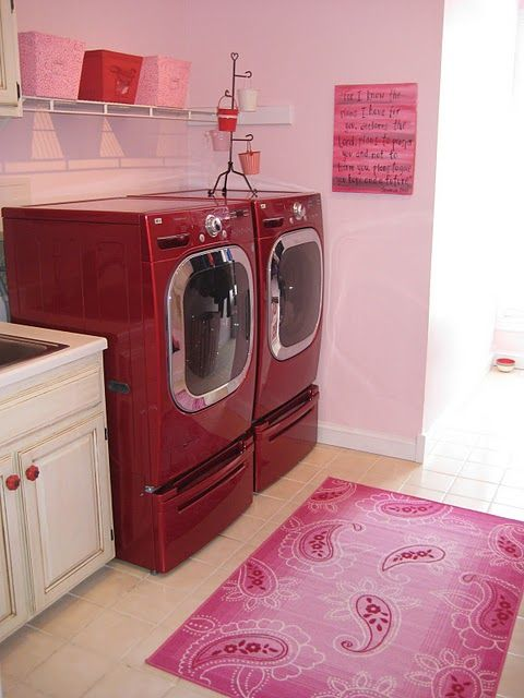 pink and red laundry area...