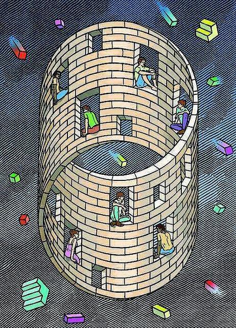 Escher M Optical Illusion Art | Orosz, Istvan (1951- ) - Moebius House (Private Collection) #Escher #MCEscher