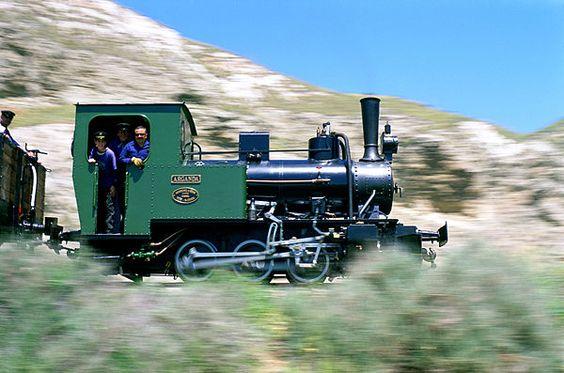 Locomotora antigua marechando por los Desfiladeros Yeseros de esta ciudad.