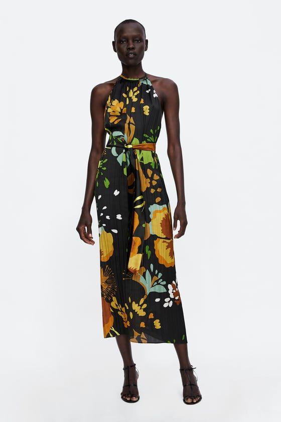 Zara Kobieta Sukienka Z Dekoltem Halter I Nadrukiem W Kwiaty Summery Outfits Halterneck Dress Dkny Dress