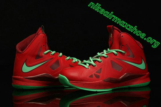Lebron 10 Kids Shoes For Sale Christmas Red Diamond Green 541100 600