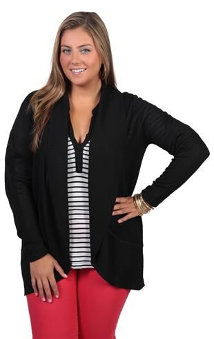 plus size long sleeve cozy sweater with open front and pockets