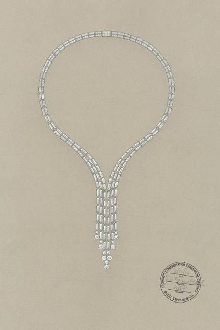 I like the drawing of this design better than the creation (they gave up baguettes for round stones in one section)   Tiffany & Co. Great Gatsby Jewelry Collection - Jewelry Tiffany & Co. Great Gatsby and Blue Book - ELLE