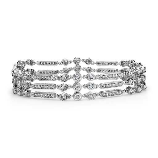 Deco Bezeled Triple Row Bracelet in 18k White Gold $10500