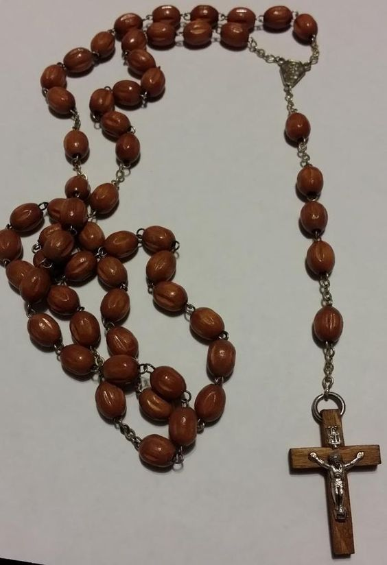 Brown wood rosary beads on purple cord with 5 decade ...  |Brown Rosaries