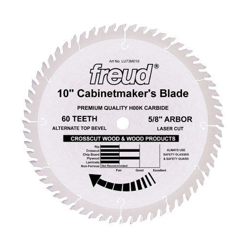 Freud Lu73m010 10inch 60 Tooth Atb Cabinetmakers Crosscutting Saw Blade With 5 8inch Arbor Click Image For More Inform Saw Blade Crosscut Wood Cabinet Makers
