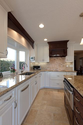 White cabinets cabinets and dark wood on pinterest for Kitchen countertops and cabinet combinations