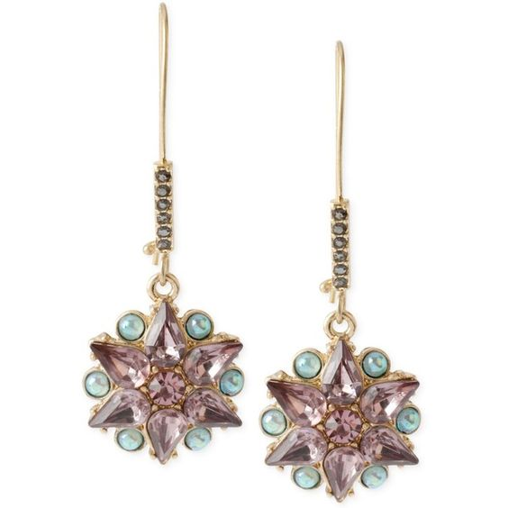 Betsey Johnson Gold-Tone Mixed Bead Star Drop Earrings ($35) ❤ liked on Polyvore featuring jewelry, earrings, purple, iridescent jewelry, beading earrings, earring jewelry, star earrings and iridescent earrings