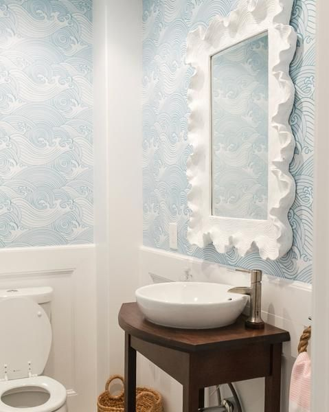 Can You Use Wallpaper In The Bathroom Bathroom Wallpaper Coastal Powder Room Beauty Bathrooms