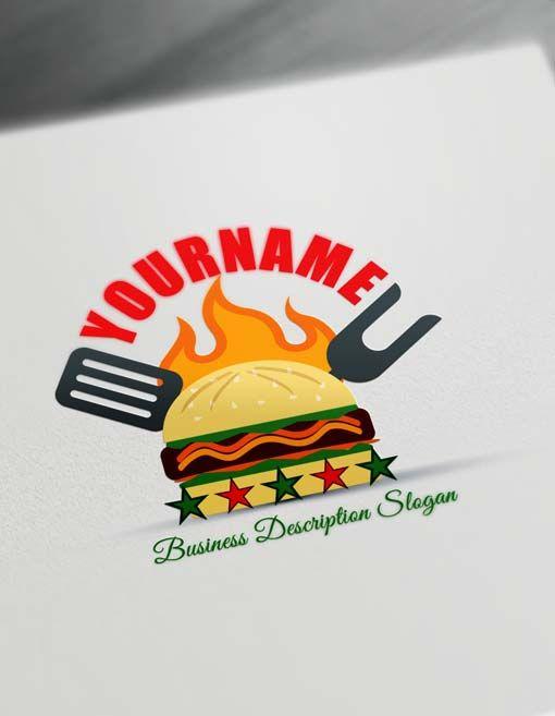 Make Fast Food Retro Burger Logo Free Logo Creator Free Logo Creator Fast Food Logos Logo Food