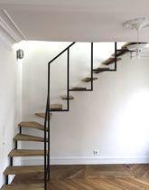 Escalier quart tournant structure en acier marche en bois sans contrema - Escalier bois metal quart tournant ...