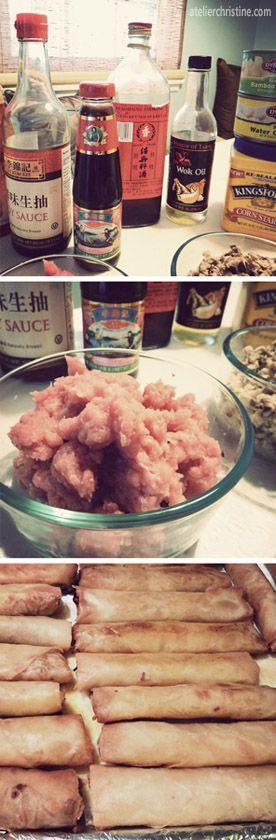 Shrimp + Pork Egg Rolls (Spring Rolls) #recipe #appetizer #party #food