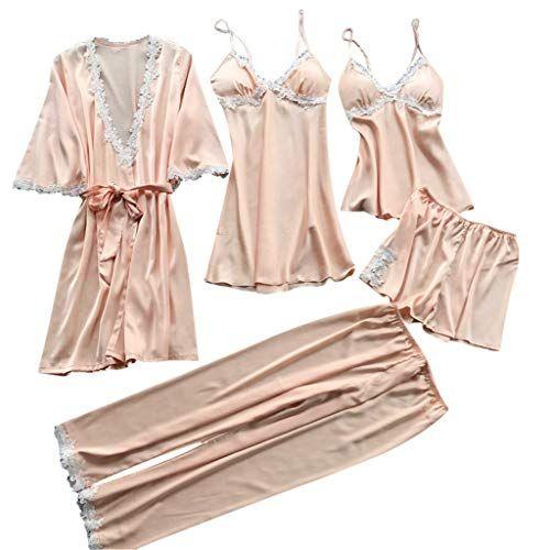 17c9c3c0ac Swyss Women s Sleepwear Sexy Lace Trim Satin 5 Piece Robe Nightgown  Camisole Shorts Pajama Set Long