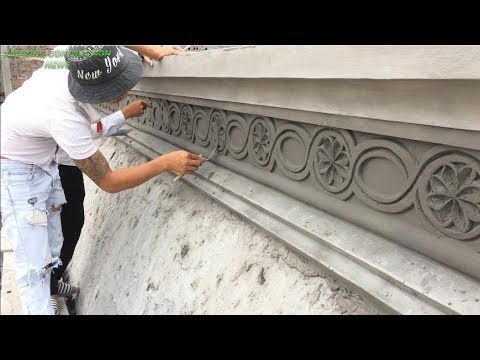 Art Of Building And Decorating Patterns On Beautiful Concrete Walls Great Construction Skills Youtu Plaster Ceiling Design Compound Wall Design Diy Plaster