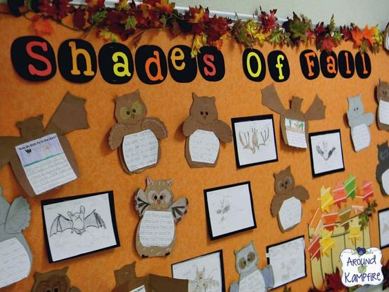 Shades of Fall October bulletin board.  This post includes a free fall activity page for working with shades of meaning.