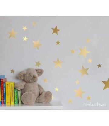 Vinilo estrellas de Navidad oro o plata de Nicolasito - Kidsme