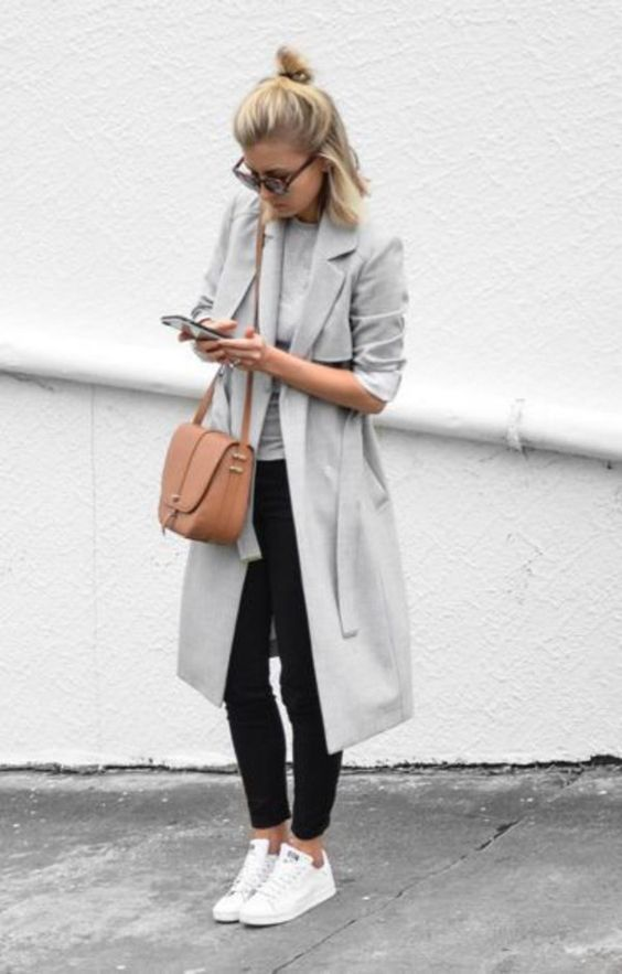 Coat: grey trench white sneakers black slim pants leather bag blonde hair summer spring outfit: