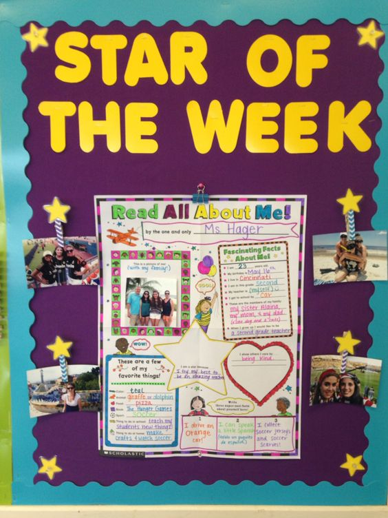 Star of the Week Bulletin Board Display. Each week a new student is randomly chosen to be our Star in order to celebrate the uniqueness and individuality of our classroom. This is also a great way to build classroom community and get to know your students. Monday- student shares their poster. Wednesday- Student shares 3-5 pictures. Friday- Show and Tell item.